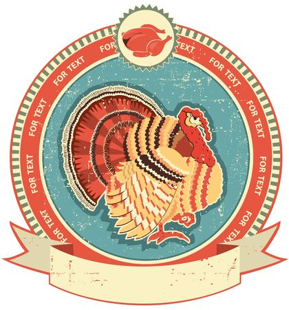 Turkey label on old paper texture.Vintage style Vector