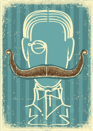Man and mustaches.Retro illustration on old paper