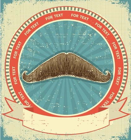 old fashioned: Mustaches symbol set on old paper texture.Vintage background Illustration