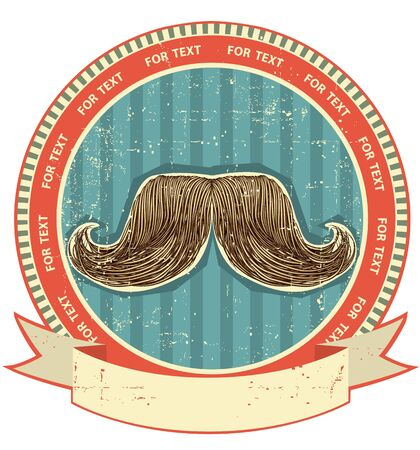 fashion label: Mustaches symbol set on old paper texture.Vintage background Illustration