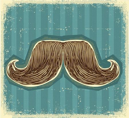 retro hair: Mustaches symbol set on old paper texture.Vintage background Illustration