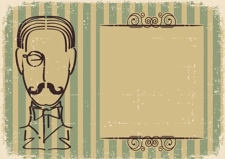 Man face and mustache.Retro background on old paper Stock Vector - 12331067