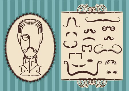 aristocrat: Man portrait and mustaches for design.Vintage style Illustration