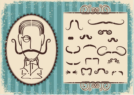 Man portrait and mustaches.Retro background on old paper Illustration
