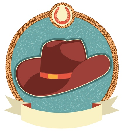 western wear: Cowboy hat label with scroll for text.Vector illustration