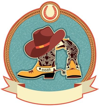 Cowboy-Stiefel und Hut-Label.