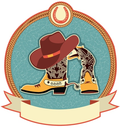 Cowboy boots and hat label.  Vector