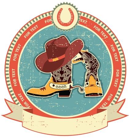country western: Bottes de cowboy et chapeau �tiquette sur le style du papier texture.Vintage ancienne Illustration