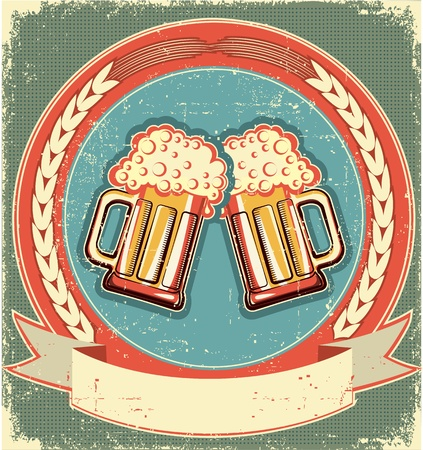 beer label design: Beer label set on old paper texture.Vintage background