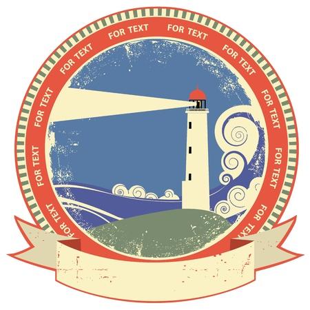 lighthouse at night: Faro symbol.Vintage etiqueta en la textura de papel viejo