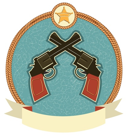 Western revolvers and sheriff star. label illustration for text Vector