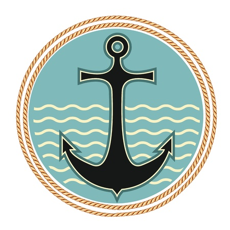 Nautical anchor symbol on white background
