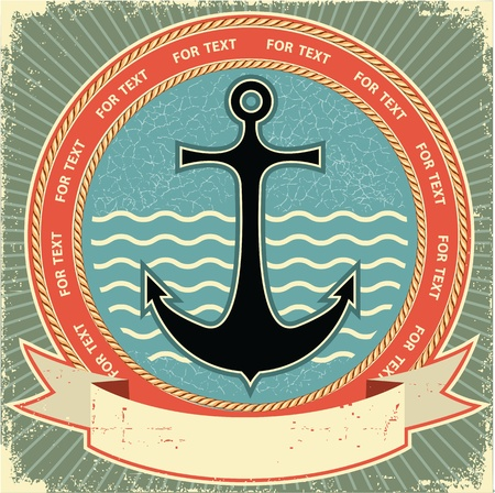 wave crest: Nautical anchor Vintage label on old paper texture