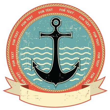 at anchor: Anclaje N�utico etiqueta vintage de la textura del papel antiguo