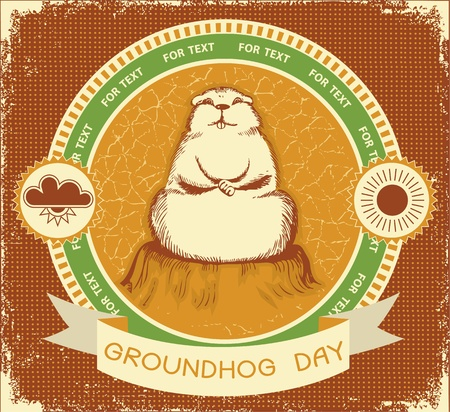 marmot: Groundhog day.Vector label background for text with grunge texture