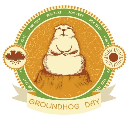 groundhog: Groundhog day.Vector label background for text Illustration