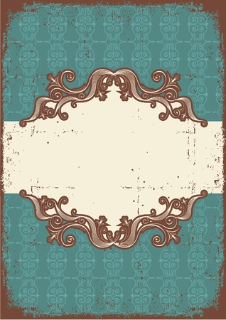Abstract vintage frame with vignettes for text on old paper texture Vector