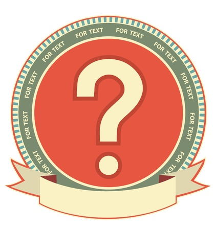 Question mard sign Label background with scroll for design Stock Vector - 12490242