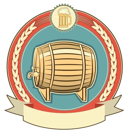 Barrel of beer label set on white background Vector