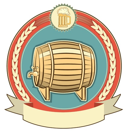 beer card: Barrel of beer label set on white background Illustration