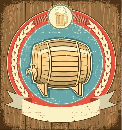 Barrel of beer label set on old paper texture.Grunge background  Vector