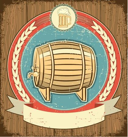 beer pint: Barril de la etiqueta de la cerveza situado en fondo antiguo de papel texture.Grunge