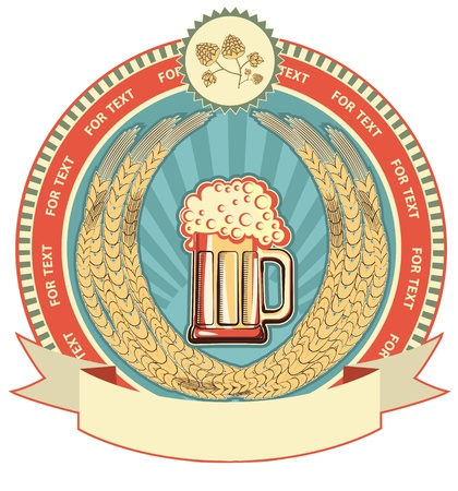 Beer symbol of  label.Vector background on white for text Vector