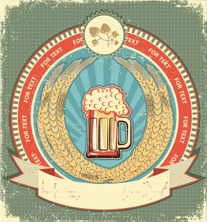 Beer symbol of  label.Vintage background with scroll for text on old paper  Vector