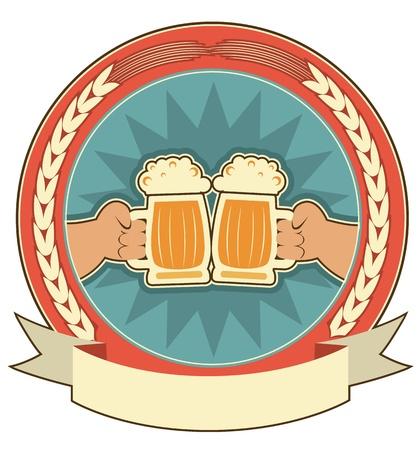 beer pint: Beers fondo de la etiqueta con el s�mbolo de las manos del hombre en white.Vector Vectores