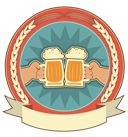 ale: Beers label background with man hands on white.Vector symbol Illustration
