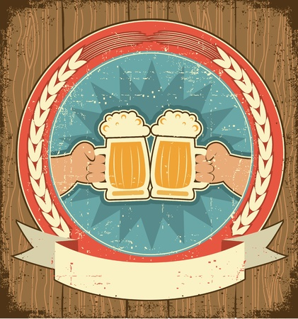 Beer label set on old paper texture.Vintage background with man hands