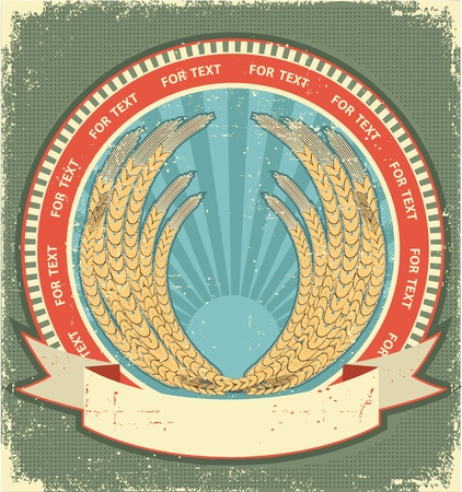 wheat symbol of  label.Vintage background on old paper texture for text Stock Vector - 12490569
