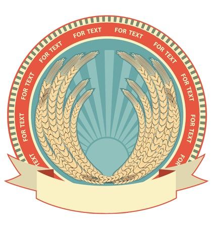 produits céréaliers: symbole de blé de fond label.Vector sur blanc pour le texte