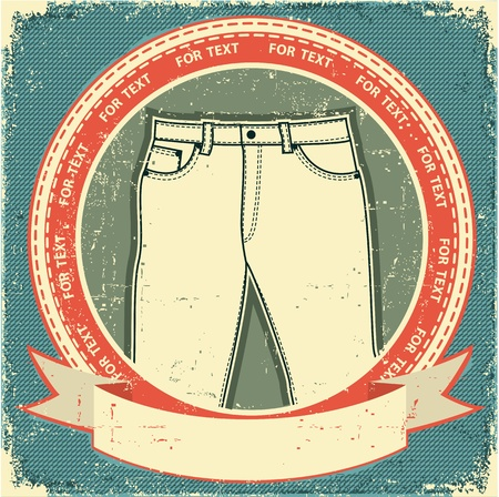 casual wear: Man jeans label set on vintage old paper Vector clothes background