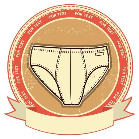 hombre sucio: Etiqueta de la ropa interior del hombre creado en el papel del grunge Vector ropa de fondo