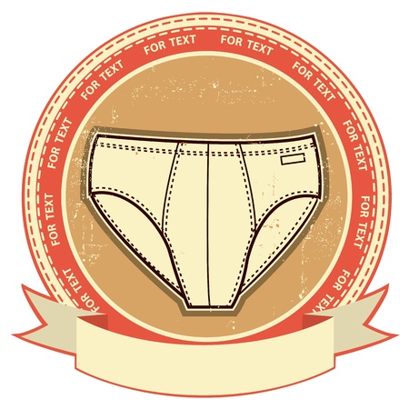 Man underwear label set on grunge paper Vector clothes background Vector