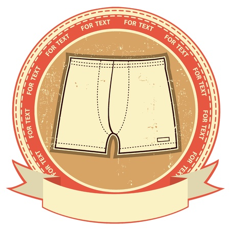 man underwear: Man underwear label set on grunge paper Vector clothes background Illustration