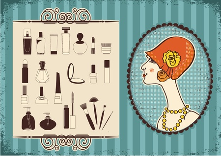 Vintage woman face in fashion hat and cosmetics background Vector