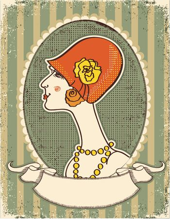 Vintage woman face in fashion hat.Retro image on old paper texture Vector