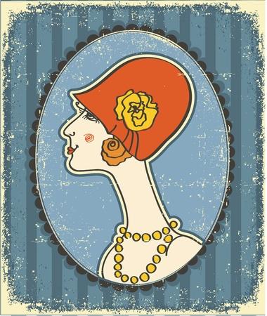 Volto di donna immagine d'epoca in modo hat.Retro sulla trama vecchia carta