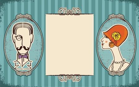 caballeros: Hombre y mujer portraits.Retro de fondo para el texto en papel viejo Vectores