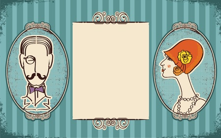 british man: Man and woman portraits.Retro background for text on old paper Illustration