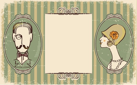 retro woman: Man and woman portraits.Retro background on old paper