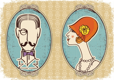 vintage portrait: Man and woman portraits.Vector vintage image