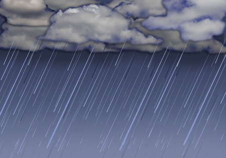 rainfall: Rainy storm background with dark clouds Collage image Stock Photo