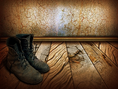 Old man boots on wood background for design photo