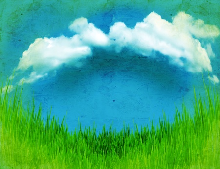 Green grass landscape with blue dark sky and clouds on old paper Stock Photo - 13500532