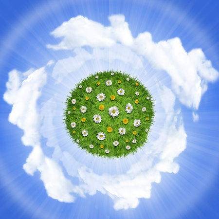 Nature green grass planet with flowers on sky background photo