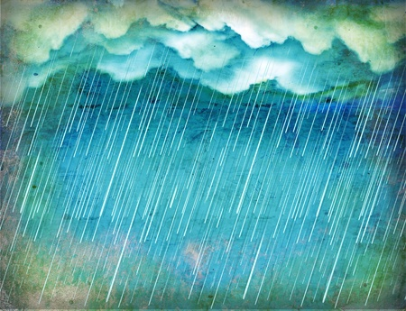 Raining sky.Vintage nature background with dark clouds on old paper  photo