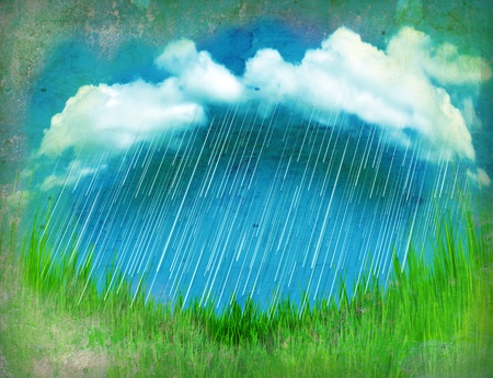 Raining clouds.Vintage landscape with green grass on old paper Stock Photo - 13567880